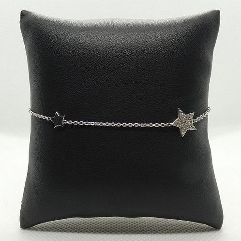 Sterling Silver Star Bracelet with CZ Embellishment