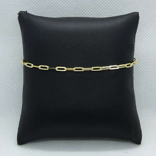 Sterling Silver Gold Plate Paper Clip Anklet
