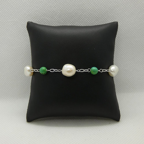 Sterling Silver Pearl and Turquoise Bracelet