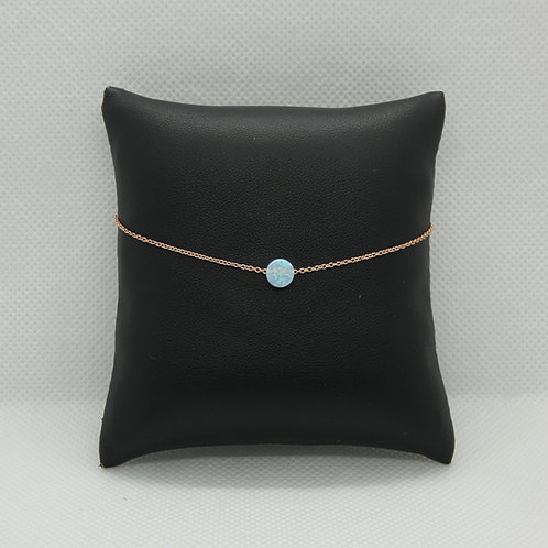 Rose Gold Plated Round White Opal Anklet