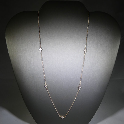 14k Yellow Gold 5 Station Diamond Necklace