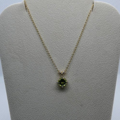 14 Karat Yellow Gold Cushion Cut Faceted Peridot Pendant Necklace