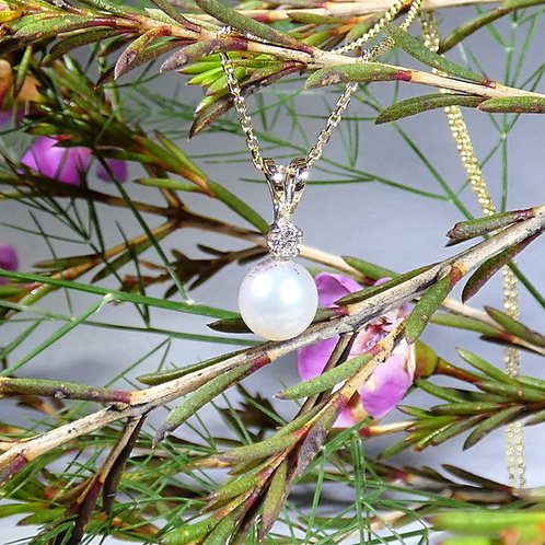 14k Classic Pearl Drop with Diamond Pendant