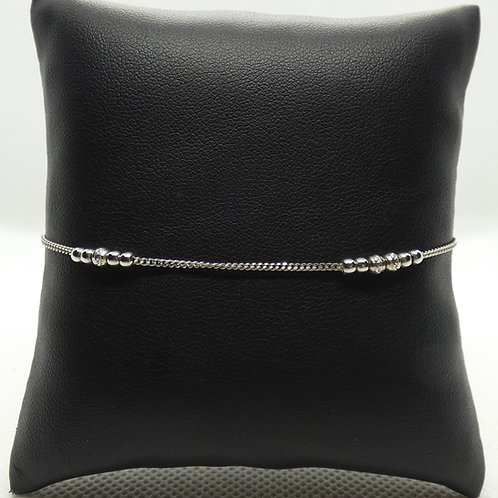 Sterling Silver Curb Link Diamond Cut Beaded Bracelet