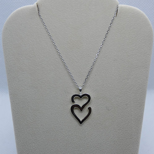 14 Karat Solid Double Heart Pendant Necklace