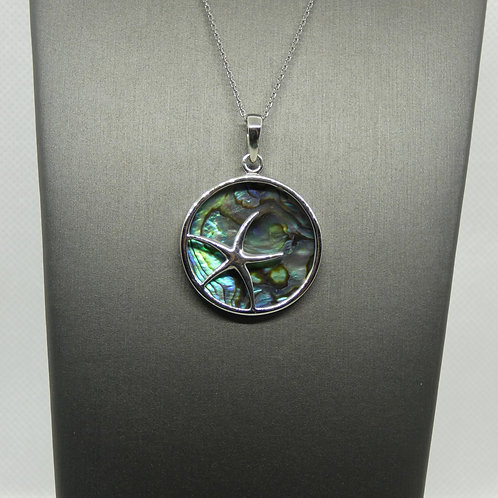 Sterling Silver Round Abalone Starfish Pendant