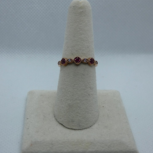 Sterling Silver Rose Gold Plated Ruby Ring