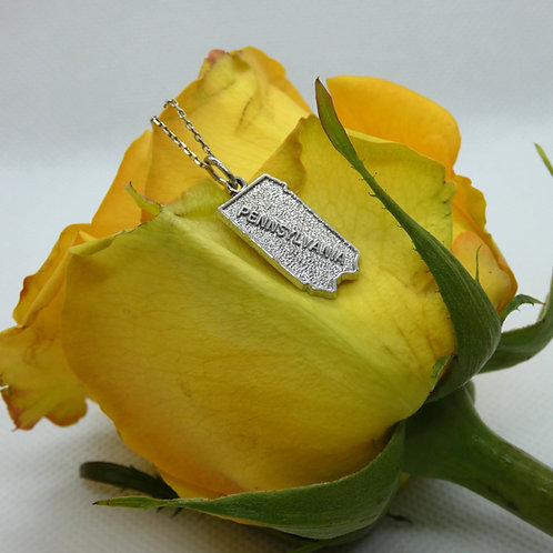 Sterling Silver State of Pennsylvania Pendant Necklace