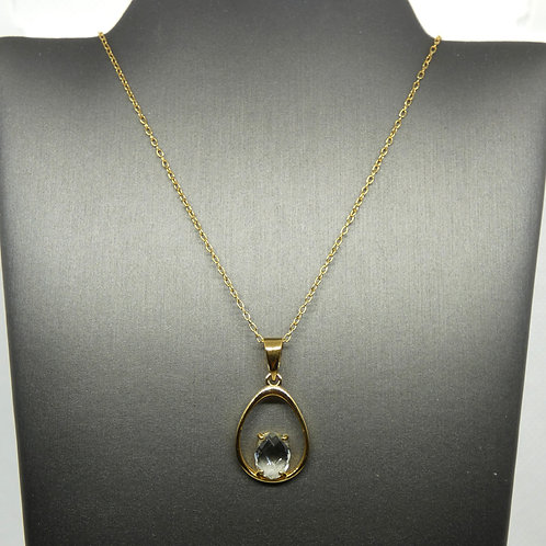 Sterling Silver and Gold Plated Green Amethyst Necklace