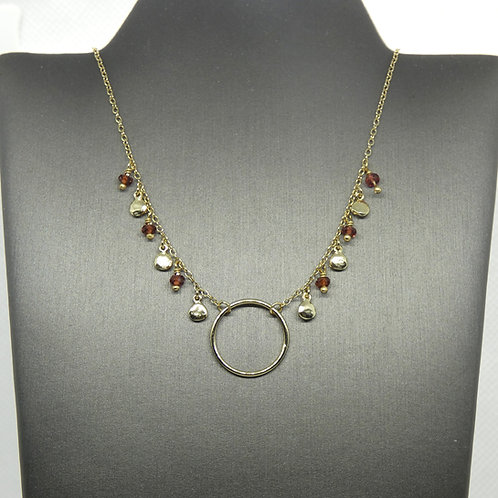 Sterling Silver and Gold Plated Garnet Necklace