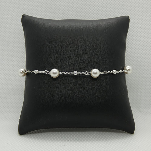 Sterling Silver Pearl and Moon Beads Bracelet