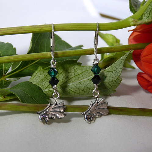 Philadelphia Eagles Sterling Silver Dangle Earrings with Swarovski Crystals