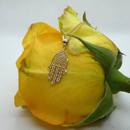 Yellow Gold Filigree Hamsa Necklace
