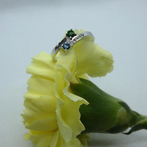 Sterling Silver Engraved Birthstone Ring
