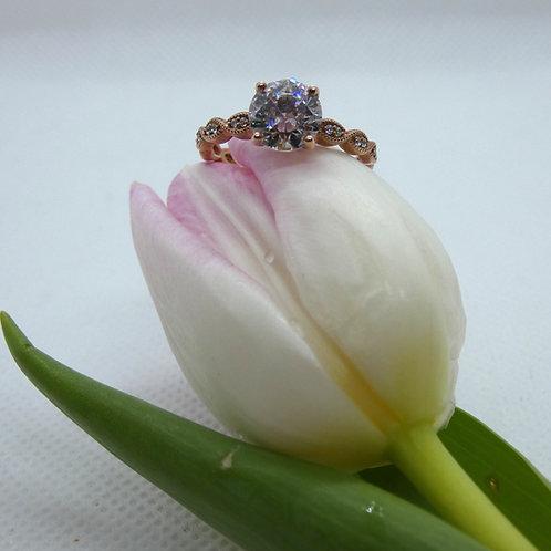 Rose Gold Brilliant Cut Diamond Infinity Style Ring