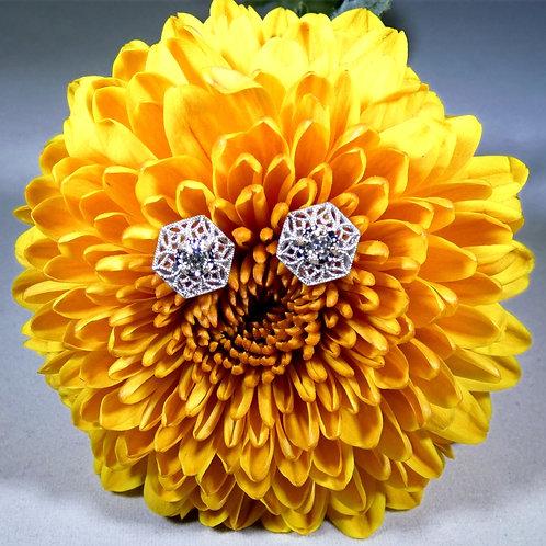 14k White Gold Filigree Post Diamond Earrings