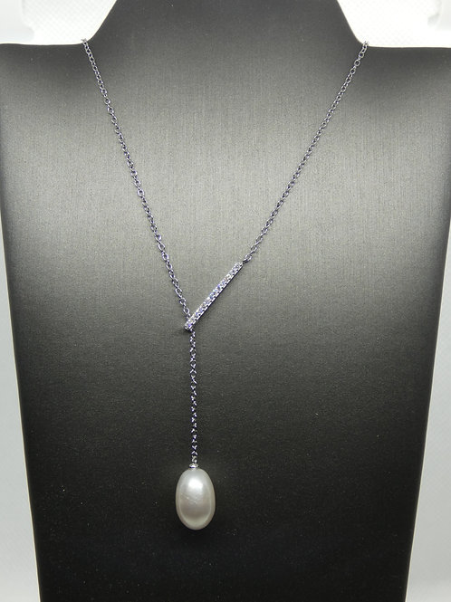 Sterling Silver Freshwater Pearl Lariat Necklace with CZ Bar