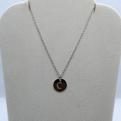 14 Karat White Gold Pierced Initial Disc Necklace
