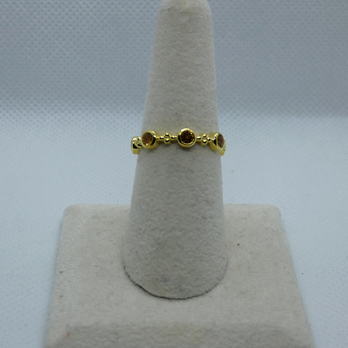 Sterling Silver Yellow Gold Plated Citrine Ring