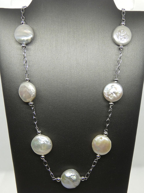 Freshwater Cultured Pearl Coin Necklace