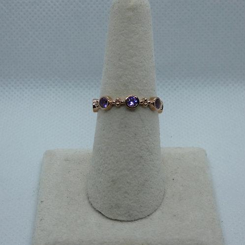 SterlingSilver Rose Gold Plated Amethyst Ring