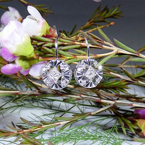 14k White Gold Vintage Style Round Diamond Earrings