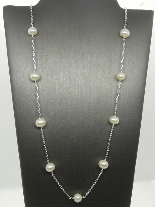 Sterling Silver Stationary Pearl Necklace