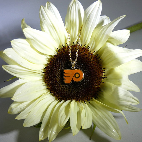 Philadelphia Flyers Sterling Silver & Gold Plated Pendant Necklace with Orange E