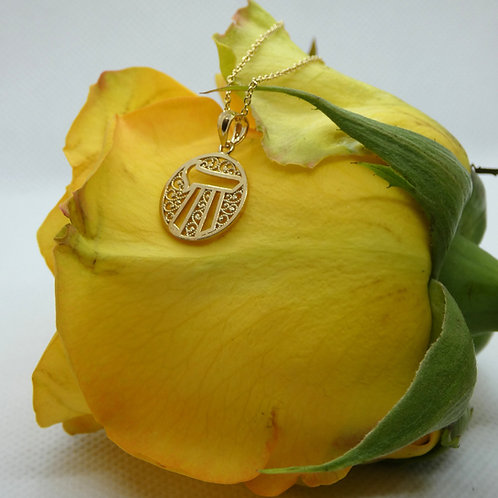 Yellow Gold Filigree Chai Symbol Necklace