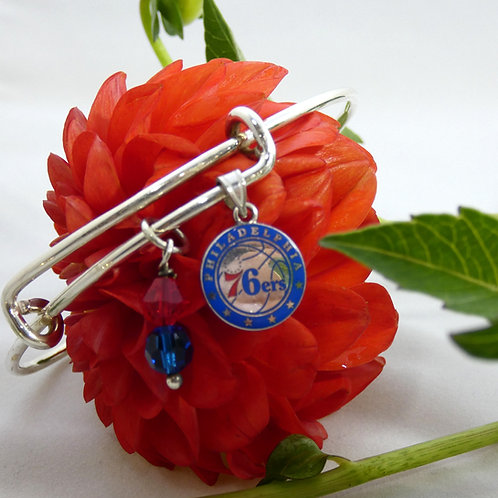 Philadelphia 76ers Bangle Bracelet with Swarovski Crystals