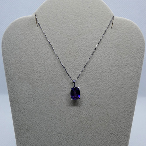 14 Karat White Gold Scroll Amethyst Pendant Necklace