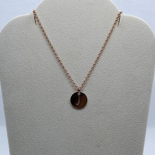 14 Karat Rose Gold Pierced Initial Disc Necklace