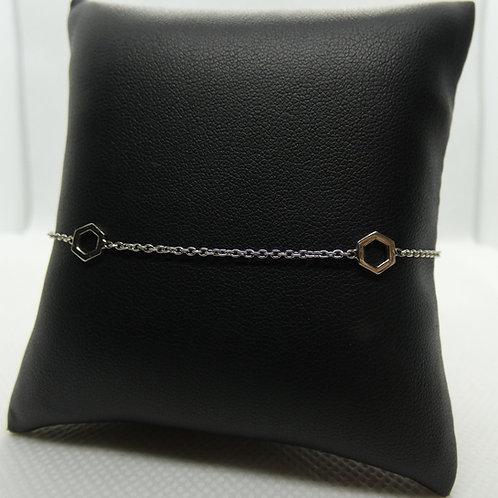 Sterling Silver Open Hexagon Bracelet