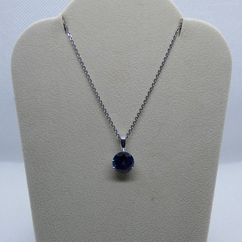 Sterling SIlver Necklace with Synthetic Blue Stone