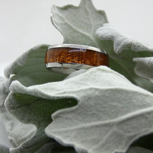 Sterling Silver Wood Band