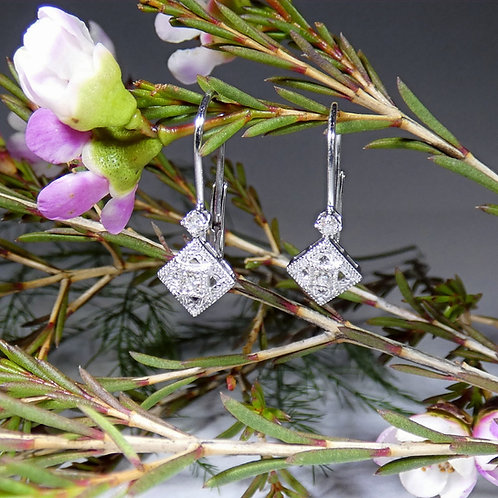 14k White Gold Diamond Vintage Style Earrings