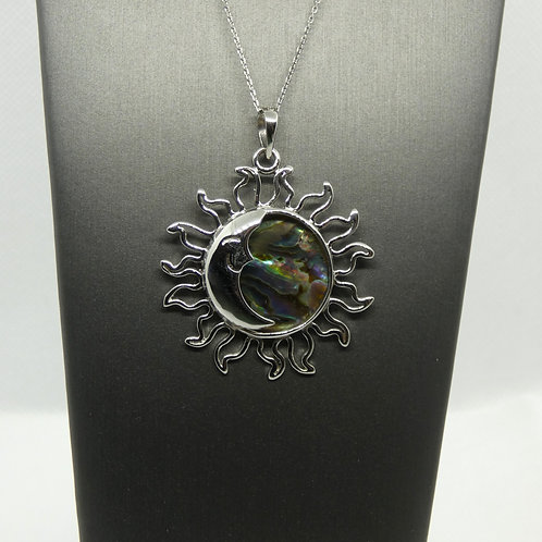 Sterling SIlver Abalone Sun and Moon Pendant Necklace