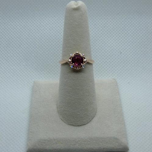 14 Karat Rose Gold Ruby Ring