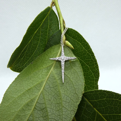 White Gold Diamond Cross