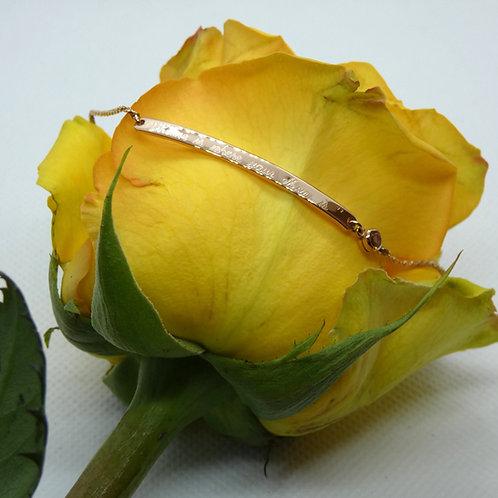 "Rose Gold Plated ""Mom"" Bracelet with Pink Topaz"
