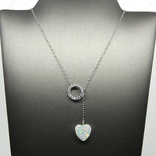 Sterling Silver White Opal Heart Lariat Necklace