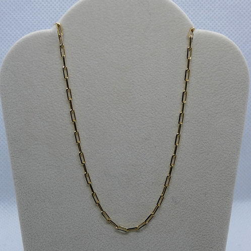 Sterling Silver Gold Plate Paper Clip Chain Necklace
