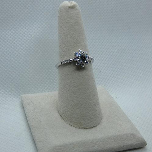 14 Karat White Gold Round Halo Style Ring