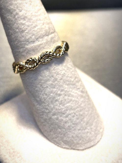 10 Karat Yellow Gold Infinity Rope Style Ring