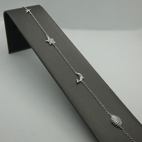 Sterling Silver Shell Charm Anklet