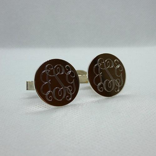 Monogrammed Sterling Silver Cufflinks