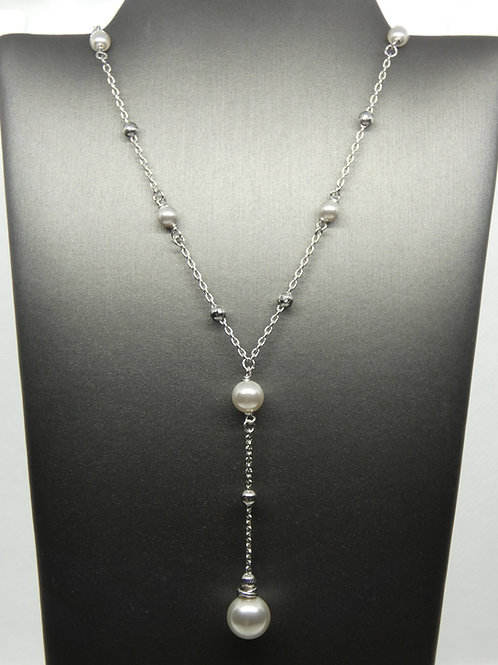 Sterling Silver Pearl and Moon Beads Necklace