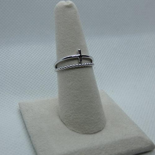 14 Karat White Gold Cross Ring
