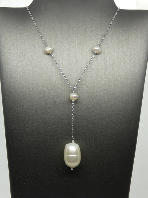 Sterling Silver Teardrop Shaped Freshwater Pearl Lariat Necklace
