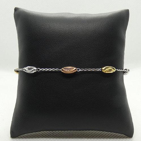 Sterling Silver Tri-Color Diamond Moon Cut Oval Bead Bracelet